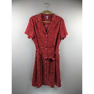 A New Day Red Polka Dot Retro Fit A Line Dress sz